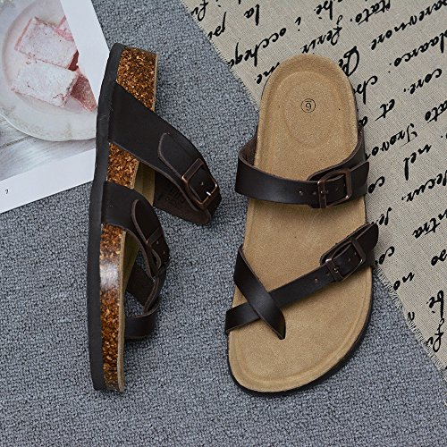 LA PLAGE Girl Women's Adjustable Toe Ring Flat Slide Cork Sandals for Summer 8 US Brown by LA PLAGE (Image #4)