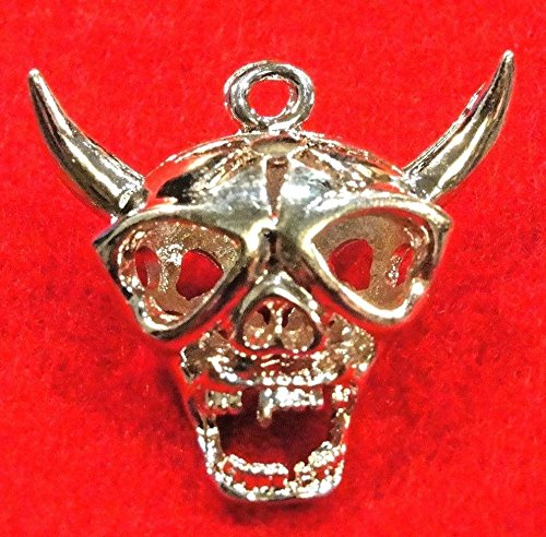 2Pcs. Tibetan Silver-Plated Large Halloween Skull Devil Charms Pendants HW01 Crafting Key Chain Bracelet Necklace Jewelry Accessories Pendants -