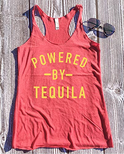 Powered by Tequila, Retro Tanks, Tequila Tank Tops for Women, Tequila Shirts for Women, Tacos and Tequila, Cute Tequila Shirt, Tequila Gifts, Tequila Lover -
