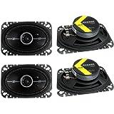 """4) Kicker 41DSC464 D-Series 4x6"""" 240 Watt 2-Way 4-Ohm Car Audio Coaxial Speakers"""