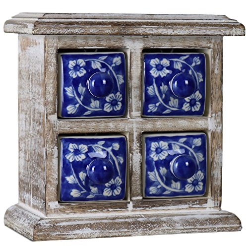 4 Drawer Mini Chest - Ferus & Fivel 4 Drawer Ceramic Desktop Mini Chest of Drawers Jewellery Wood Wooden Blue White Box Cabinet