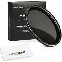 K&F Concept 46mm Slim HD Multi-Coated Variable Polarizing ND Neutral Density Adjustable ND2 ND4 ND8 to ND400 Lens Filter + Lens Cleaning Cloth for DSLR Cameras