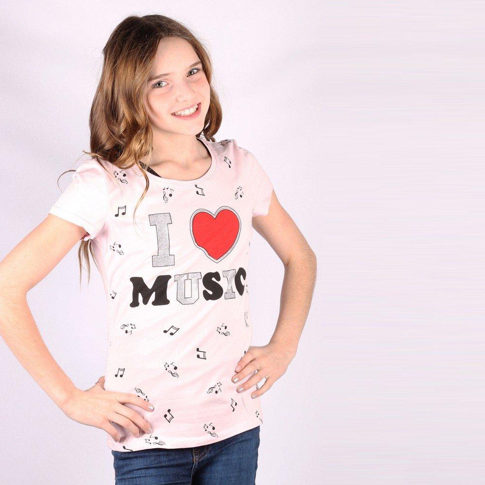Lori/&Jane Big Girls Pink I Love Music Graphic Print Short Sleeve T-Shirt 8