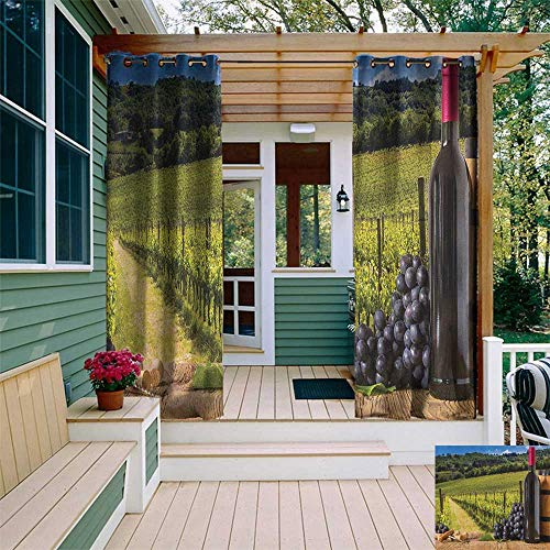 leinuoyi Winery, Outdoor Curtain Ends, Red Wine Bottles with Grapes on Timber Board Tuscany Italian Terrace Scenery, Fabric W96 x L108 Inch Green Blue Brown