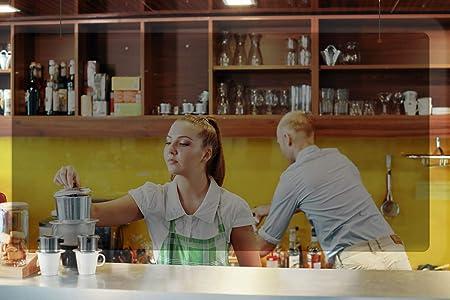Mampara metacrilato mostrador de protección para colgar.(120 x 90 cm). Pantalla protectora transparente para hoteles, oficinas, bares, hostelería, estancos, tiendas alimentación: Amazon.es: Oficina y papelería