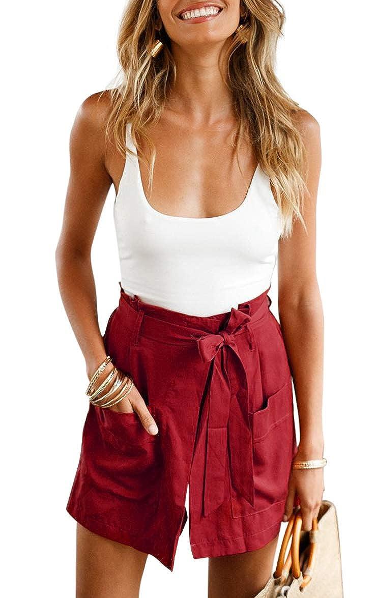 5252f167e1e61 Amazon.com  BELONGSCI Women Summer 2 Pieces Outfits Suit Spaghetti Strap Crop  Top + Shorts Set with Belt  Clothing