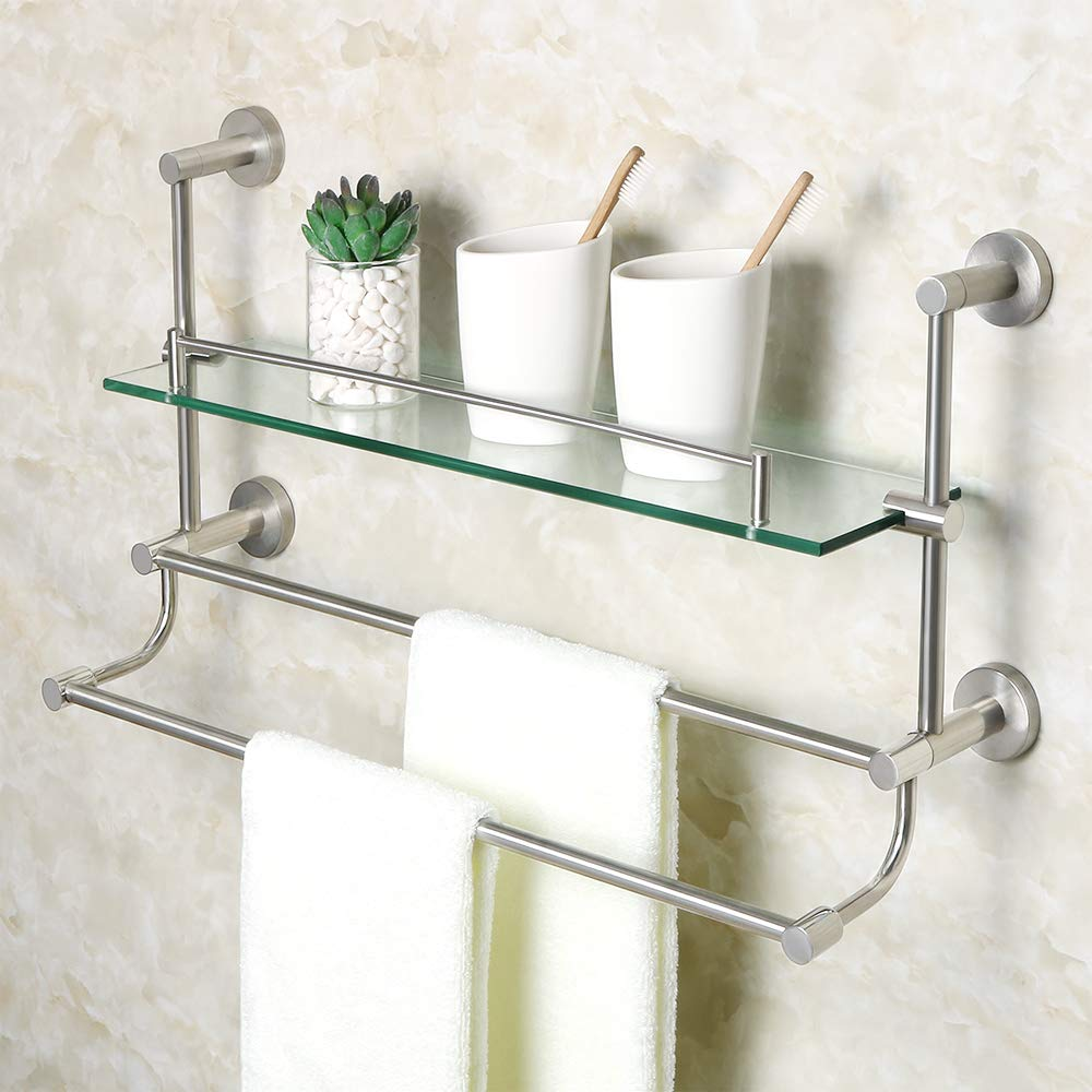 Alise Bathroom Shelf SUS 304 Stainless Steel Shower Glass Shelf with Double Towel Bar/Rail Towel Rack Wall Mount,Brushed Nickel GY9800