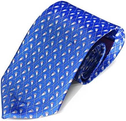 Mens Tie and Boys Tie | Designer Necktie | 100% Silk Lacrosse Design Sports Neck Tie (Crossed Lacrosse Sticks Pattern)