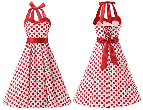 Dresstells® Halter 50s Rockabilly Polka Dots Audrey Dress Retro Cocktail Dress White Red Dot