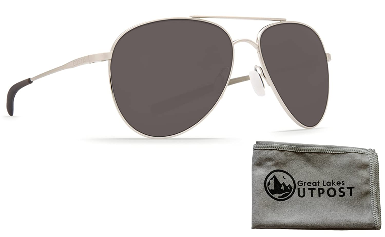 f8f77018144 Amazon.com  Costa del Mar Cook Silver Mirror 580P Brushed Palladium Frame  Sunglasses w Cloth  Clothing