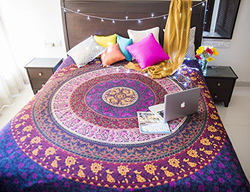 Folkulture Retro Spectrum Bohemian Hippie Tapestry Wall Hanging for College Dorm Room, Indian Mandala Floral Bedding Bedspread for Bedroom or Beach Blanket, Queen Size Blue Purple Boho Trippy ()