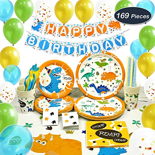 WERNNSAI Dinosaur Party Supplies Set - Dinosaur Themed Party Decoration for Boys Kids Birthday Cutlery Bag Table Cover Plates Cups Napkins Straws Utensils Banner & Balloons Serves 16 Guests 169 PCS -