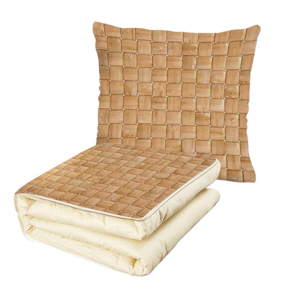 iPrint Quilt Dual-Use Pillow Beige Illustration of Thic Woven Oak Wood Patterns Natural Simple Harvest Style Contemporary Deco Decorative Multifunctional Air-Conditioning Quilt Brown