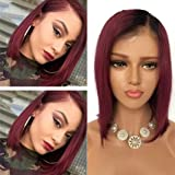 """SUNMAY 10"""" Silky Straight Brazilian Remy Human Hair Lace Front Wigs Short Bob Cuts Glueless Wig Side Part Ombre Black to Wine Red for Women with Natural Hairline"""