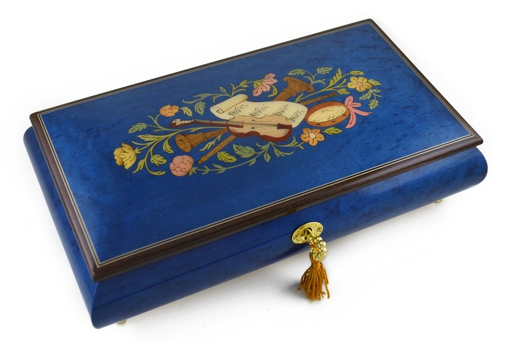 Beautiful 30 Note Royal Blue Instrumental and Floral Wood Inlay Music Box - When You Wish Upon A Star