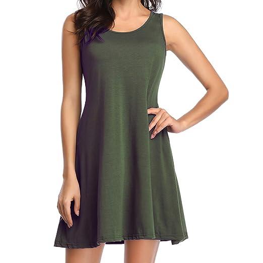 25bdf87723ad4 Loritta Womens Tank Dress Summer Casual Swing Loose Sleeveless T-Shirt  Dresses, Army Green