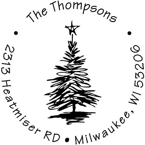 Amazon Com Custom Christmas Address Stamp Sketch Christmas Tree