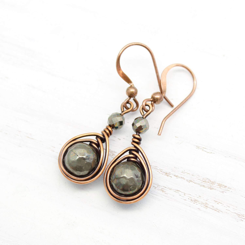 Blue agate earrings copper wire earrings wire wrapped jewelry modern earrings statement earrings handmade earrings blue earrings agate stone