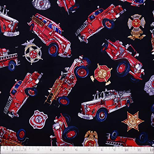 - Firemen Fabric 5 Alarm Fire Trucks and Badges in Black from Quilting Treasures 100% Premium Cotton Fabric by The Yard