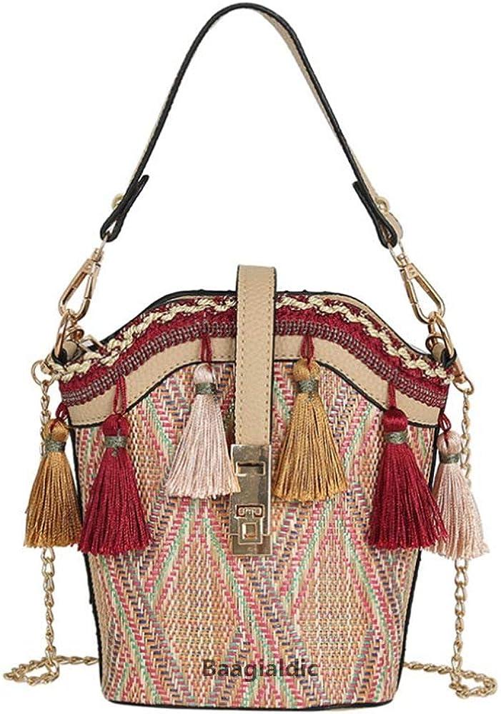 Womens Metal Ring Handle Bohemia Tassel Bucket Crossbody Bag Casual Holiday Bag