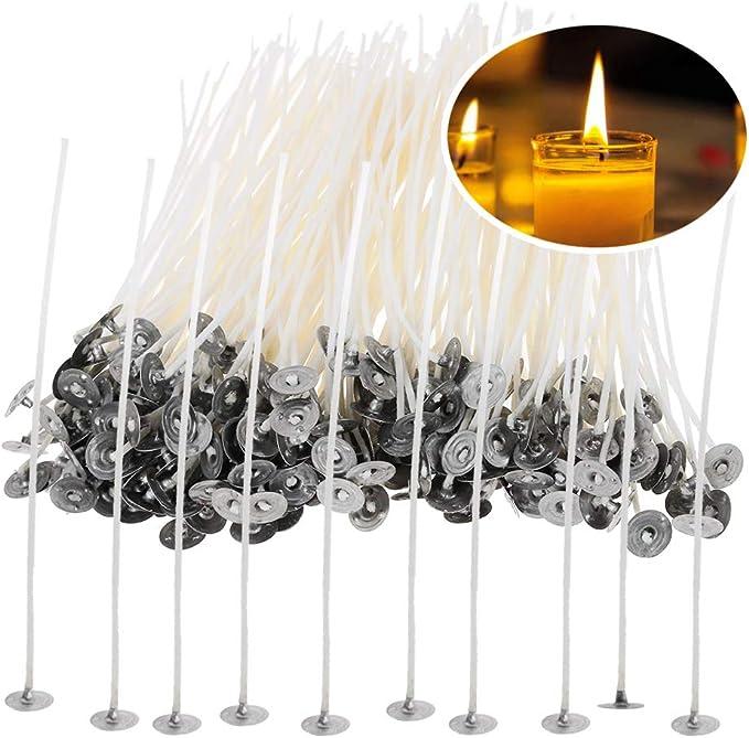 100stk Docht Mit Fuß Kerze-Dochte-Baumwollkern Gewachst Mit Sustainers 10//20cm