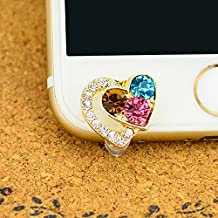 Mavis's Diary® Cute Bling Dust Plug Accessories / Cell Charms / Ear Jack for Iphone 6 Series,Samsung Galaxy S6 Series,Galaxy Note 5,HTC M9,LG G4 and Other 3.5mm Earphone Jack Downward (Love Heart)