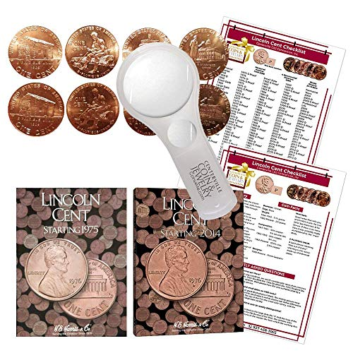 Lincoln Penny Starter Collection Kit, with 2009 Varieties, H.E. Harris [2674] Lincoln Cent Folder Vol. 3, [4002] Folder Vol. 4, Magnifier & Checklist, (5 Items) Great Start for Beginner Collectors