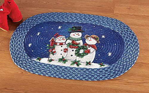 Happy Winter Snowmen Braided Rug