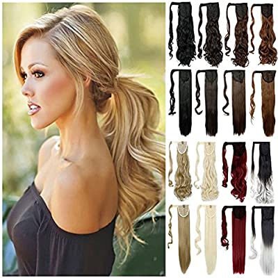 Haironline Ponytail Extensions Wrap Around Synthetic Ponytail Clip in Hair Extensions One Piece Magic Paste Pony Tail Long Wavy Curly Soft Silky