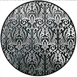 Short Plush Round Area Rug Silver Metal Plate Graphic with Classic Floral Ornaments Medieval Empire Royal Engraved Charcoal Grey Silver Dining Room Bedroom Hallway Home Office 31.5'' x 31.5'' Round