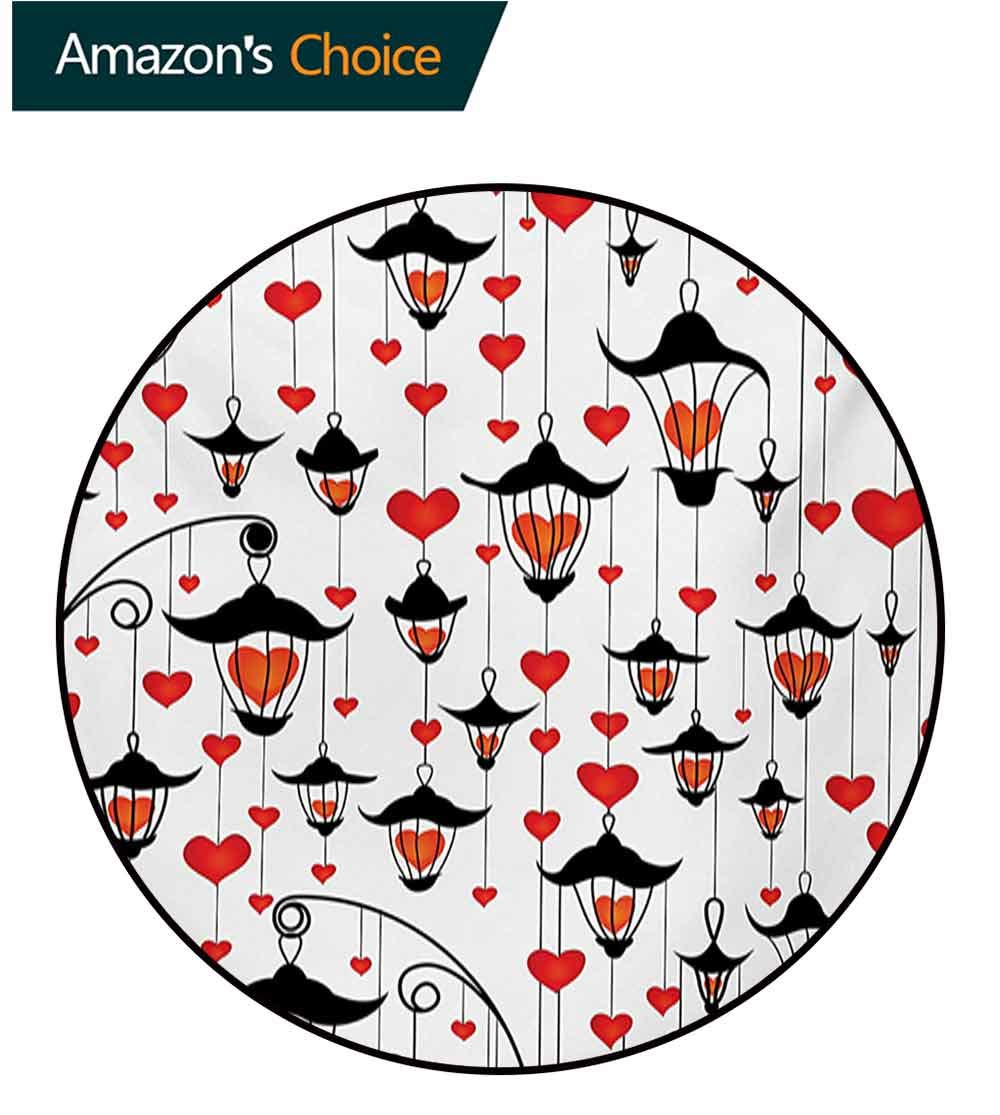 RUGSMAT Love Modern Washable Round Bath Mat,Lanterns and Heart for Valentines Day Small Lamp Classic Antique Non-Slip Bathroom Soft Floor Mat Home Decor,Round-71 Inch Vermillion Scarlet White Black by RUGSMAT (Image #3)