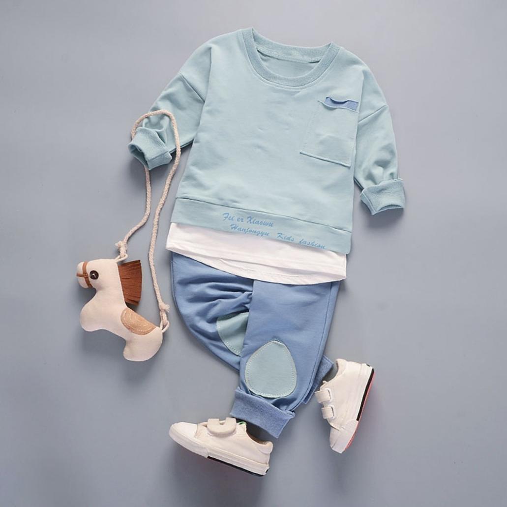 SHOBDW Boys Clothing Sets 2PCS Infant Baby Kids Boys Fashion Cool Tops Shirt Pants Set Suit Outfits Clothes
