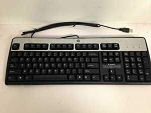 Genuine HP Hewlett-Packard KU-0316 Black/Silver USB Wired 104-Key Layout Keyboard Part Number: 434821-001 Model Number: KU-0316