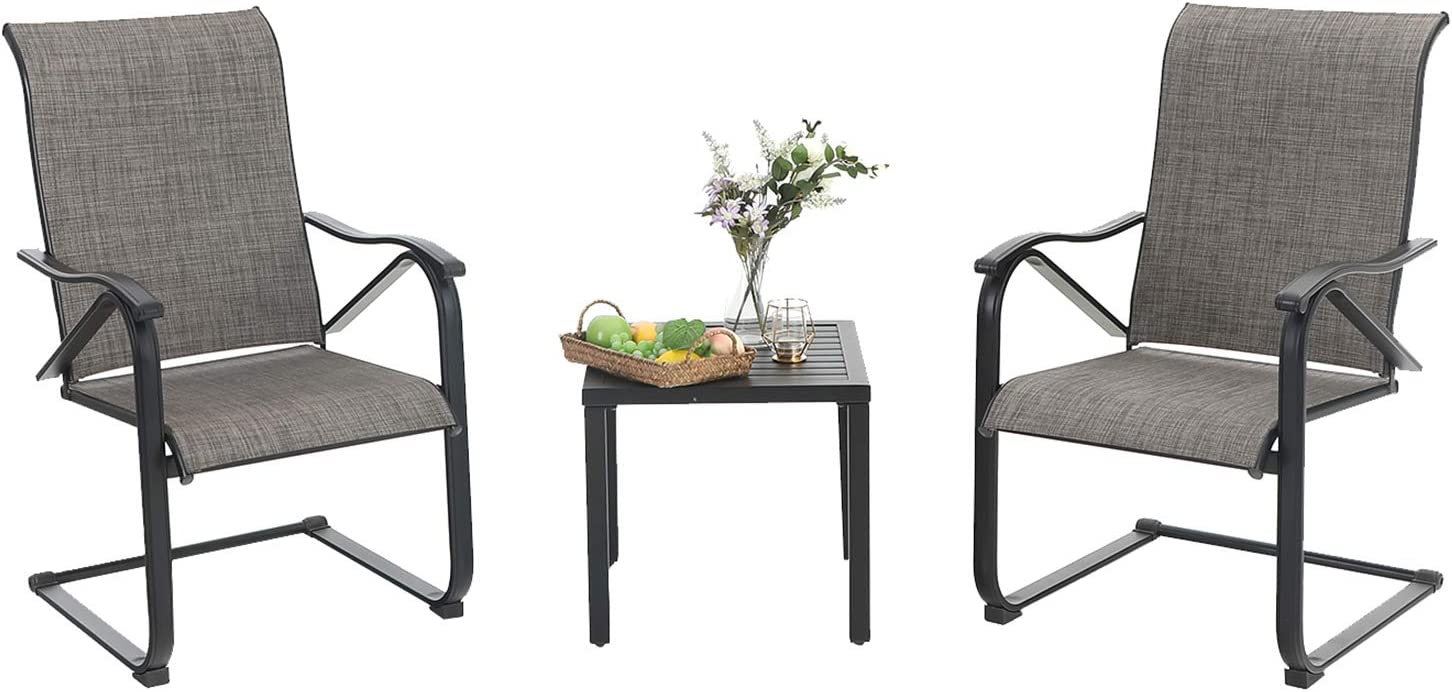 MFSTUDIO 3 Piece Metal Patio Dining Set,Outdoor Bistro Furniture with1 x Square Wrought Iron Table and 2 x C Spring Motion Textilene Metal Rocker Chairs for Garden, Pool, Backyard