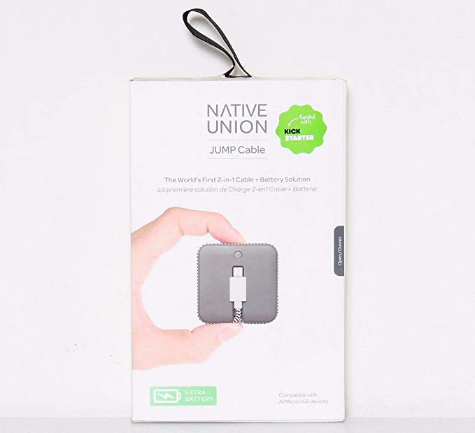 Native Union Mens JUMP Cable with Micro USB Connector, Slate, One Size