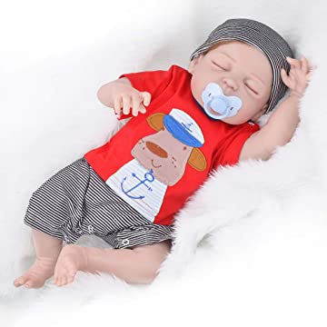 UCanaan 22'' Reborn Doll Sleeping Alive Baby Boy Real Like Dolls for Girls Babies New Born Realistic with 2 Sets Clothes Kids Toys for Children-Sleeping Doll