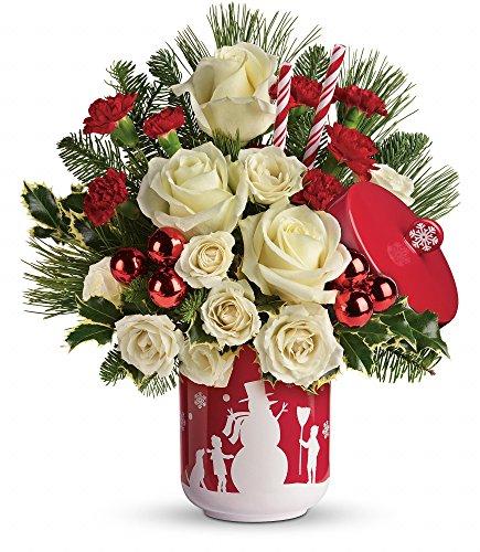 Snowy Christmas Fresh Rose Centerpiece – Standard