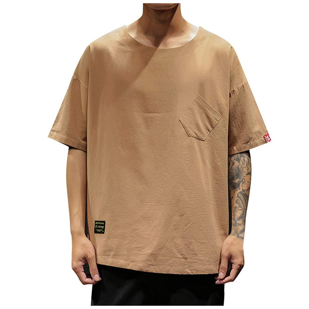Men Cotton Linen Shirt 2019 Casual Short Sleeve Round Neck Loose Fit with Pocket (3XL, Coffee)