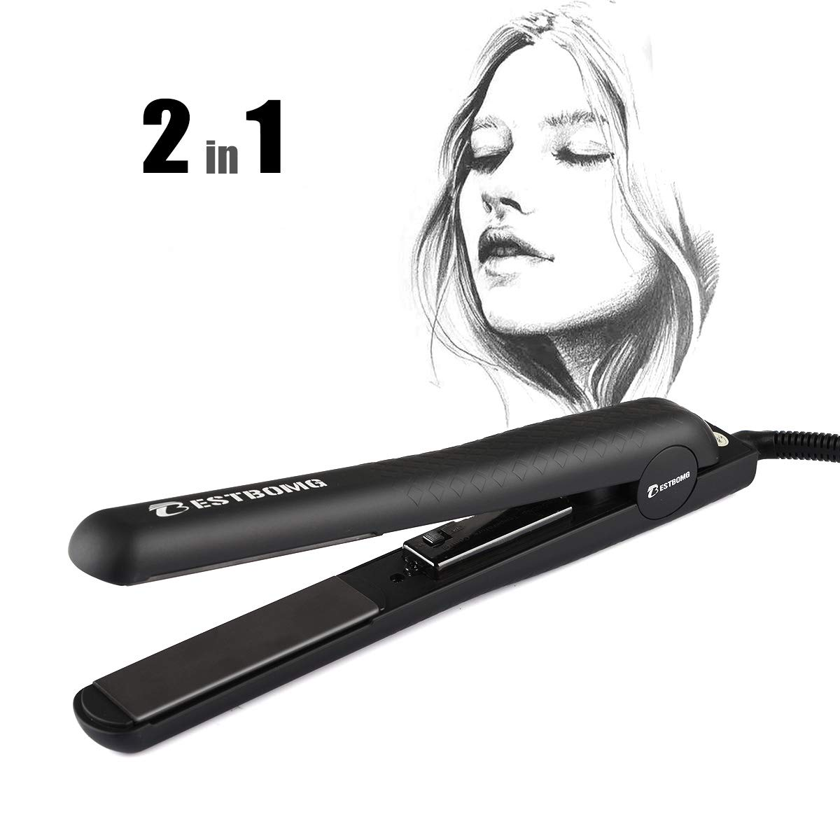 BESTBOMG Professional Ionic Flat Iron Worldwide Dual Voltage Hair Straightener,Ceramic Tourmaline,Instant Heat Up for Hair Styling with Rotating Adjustable Microchip Temperature Control Salon High