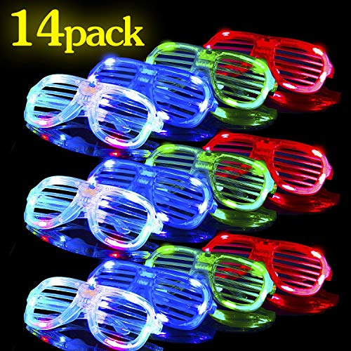 Glow in The Dark LED Glasses  14 Pack Bulk Light Up Rave Glasses Party Favors Glow Neon Party Decorations Party Supplies Holiday LED Sunglasses Shutter Shades Accessories for Kids Adults