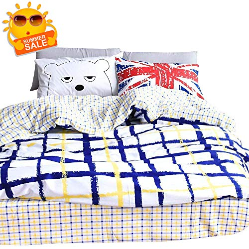 BuLuTu Britain Bear Series Cotton Full Duvet Cover Set White 3 Pieces Reversible Geometric Grid Queen Comforter Cover Sets with 4 Corner Ties for Kids Boys (Series Cover Duvet)