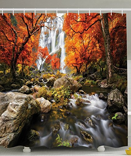 Autumn Waterfall - Ambesonne Jungle Shower Curtain Forest Decor by, Trees Decor Scenic Thai Waterfall and River Park in the Autumn, Polyester Fabric Bathroom Set with Hooks