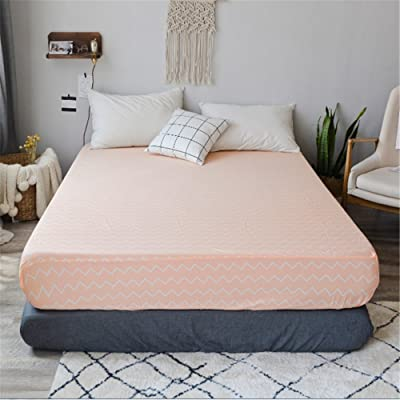 "PinkMemory Queen Fitted Sheet Pink Peach Cotton Fitted Bed Sheet with 20"" Deep Pocket, Only One Queen Fitted Sheet for Teens Adult: Home & Kitchen"
