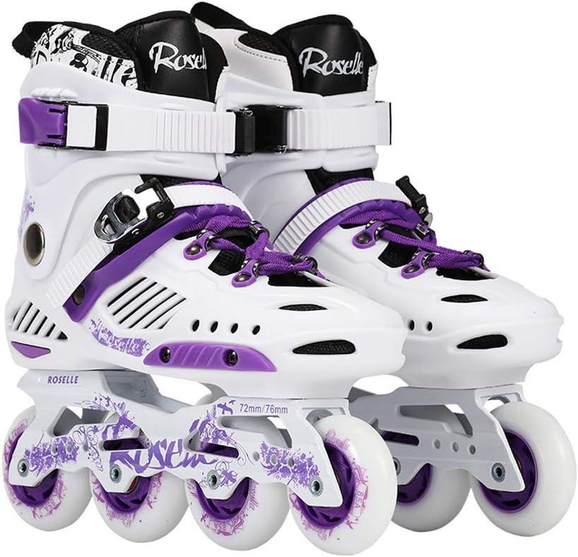 JIANXIN インラインスケート、成人用、調節可能なローラースケート、軽い輪で、男性と女性に適し、スケート、白と紫 A