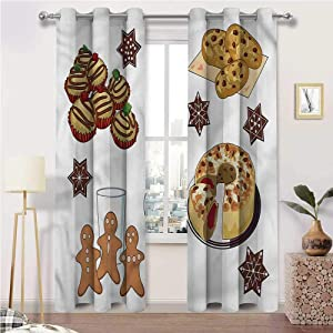 prunushome Cookie Living Room Curtain Gingerbread Man Sweet Cake for Home Decoration - 60 Inch x 108 Inch (2 Grommet Panels)