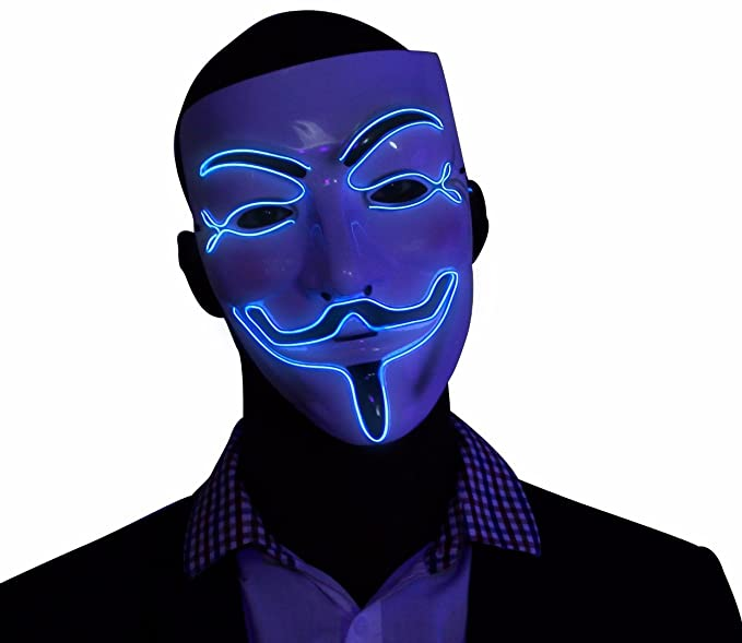 Kandi Gear Blue Light up V for Vendetta Glow EL Wire LED Guy Fawkes Anonymous Mask