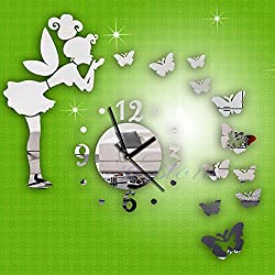 FidgetKute Modern Butterfly Fairy Clock DIY 3D Art Mirror Wall Sticker Kids Room Home Decor
