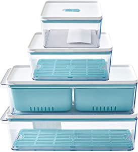 Aquarius CiCi Food Storage Containers With Lids, Kitchen Leak Proof Storage Accessories 4 Pack, Stackable Food Container Sets for Freezer, Kitchen, Countertops, Cabinets (Multicolor)