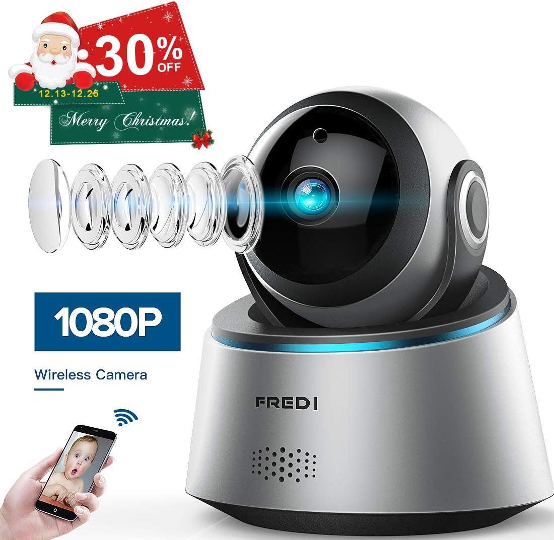 FREDI 1080p Wireless Camera HD WiFi IP Camera for Baby Elder Pet Nanny Monitor, Pan Tilt, Two-Way Audio Night Vision Update Version