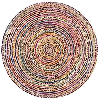 nuLOOM Multicolor Aleen Braided Cotton/Jute Round Rug, 8 Feet